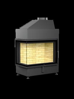 Каминная топка Астов П2С 800 - топка подовая 2 стекла (Г-образная) и боковым открыванием дверцы - фото 6252